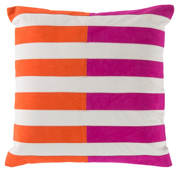Stripes Cotton Pillow, Orange/Pink