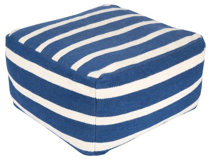 Geiger Wool Pouf, Blue/White