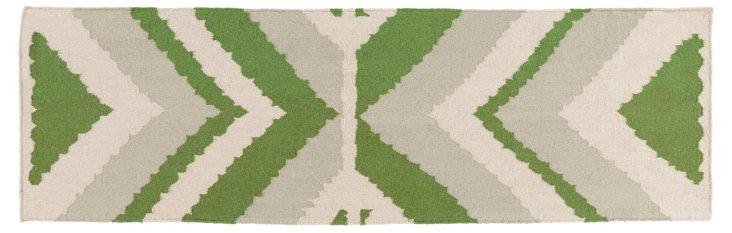 "2'6""x8' Natalie Flat-Weave Runner, Green"