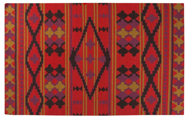2'x3' Greene Flat-Weave Rug, Red