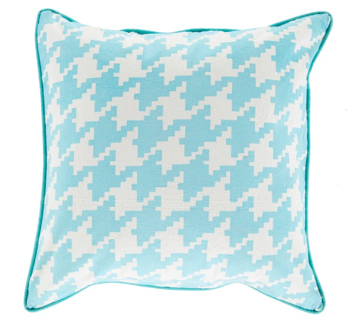 Houndstooth 20x20 Cotton Pillow, Blue