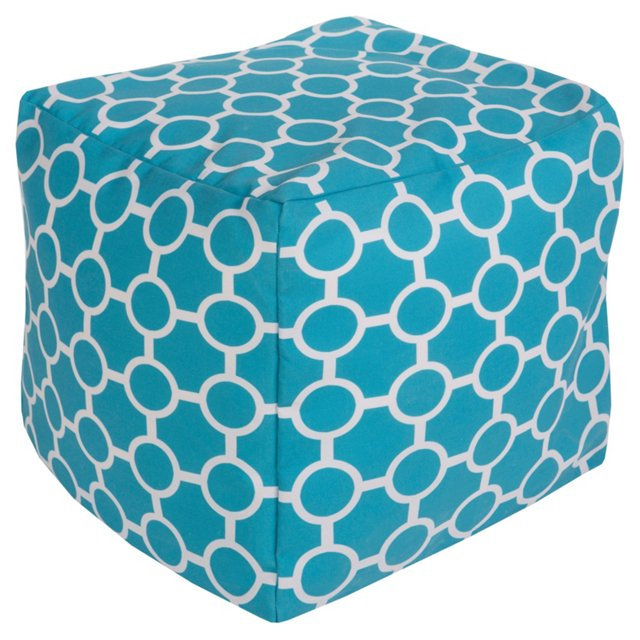 Olivia Outdoor Pouf, Aqua/White