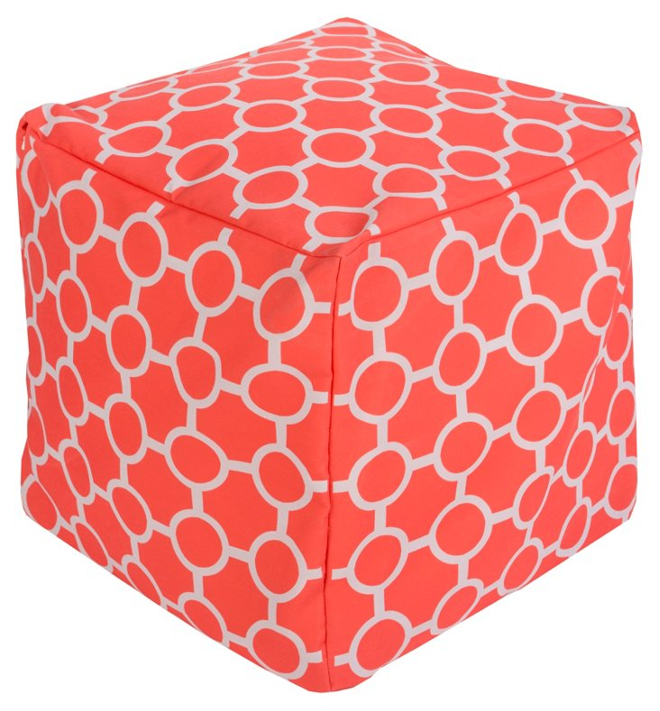 Olivia Outdoor Pouf, Coral/White