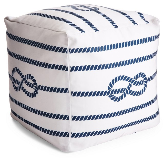 Sailor Outdoor Pouf, Navy/White