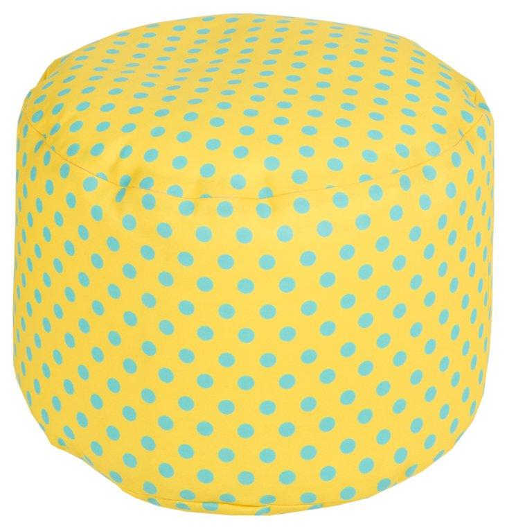 Polka Outdoor Dot Pouf, Yellow