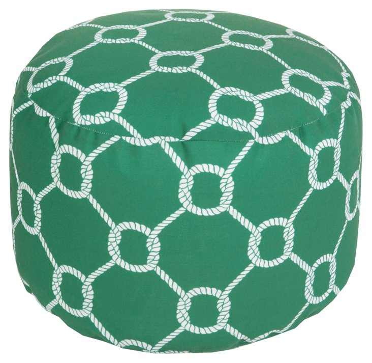 Knot Outdoor Pouf, Green/White