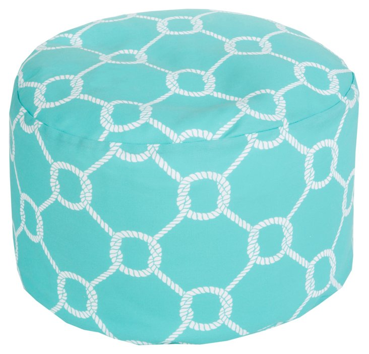Knot Outdoor Pouf, Turquoise