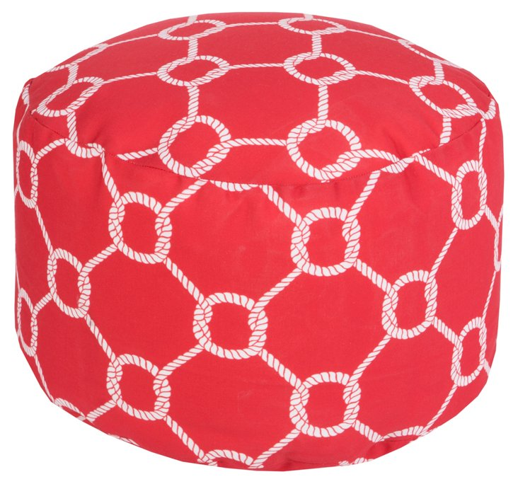 Knot Outdoor Pouf, Red