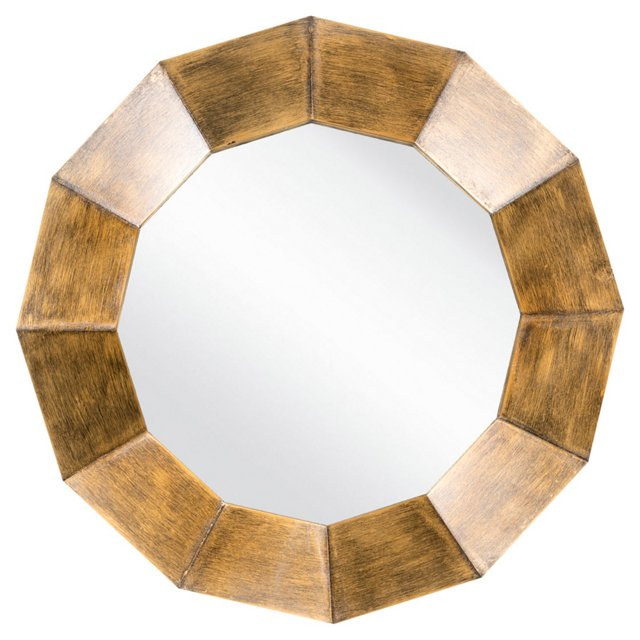 Faceted Wall Mirror, Bronze