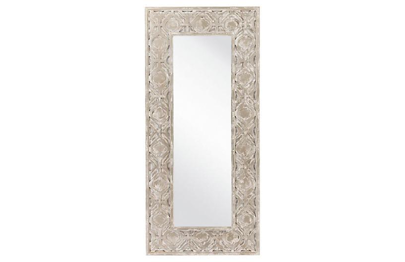 Weathered Floor Mirror, Pewter