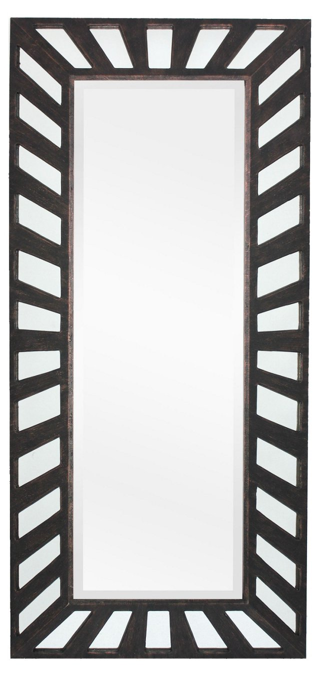 Deco Floor Mirror, Bronze