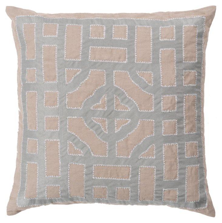 Tiled Linen Pillow, Silver