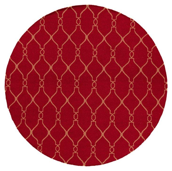 8' Round Pippa Flat-Weave Rug, Carmine