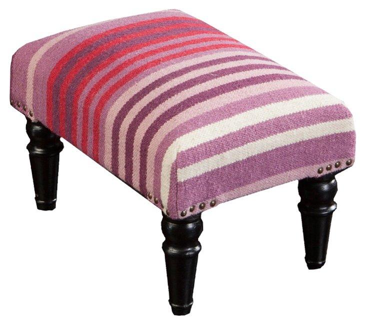 Harper Wool Ottoman, Purple/Pink