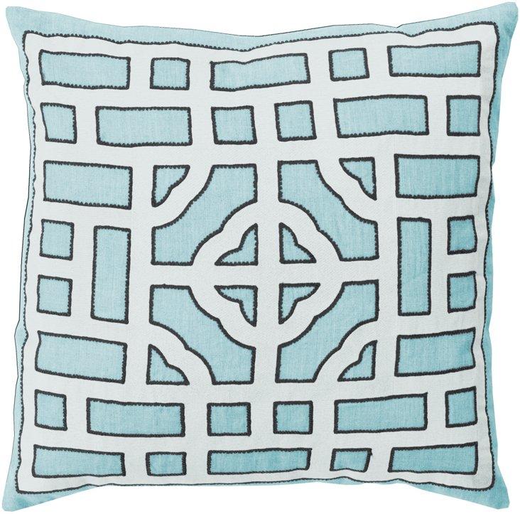 Tiled 18x18 Linen Pillow, Blue