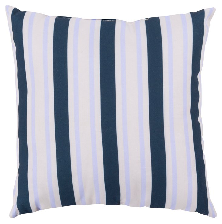 Stripes Outdoor Pillow, Navy
