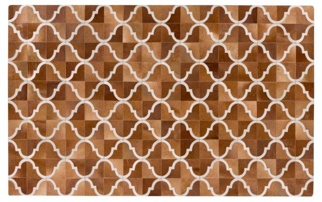 Trellis Leather Rug, Brown