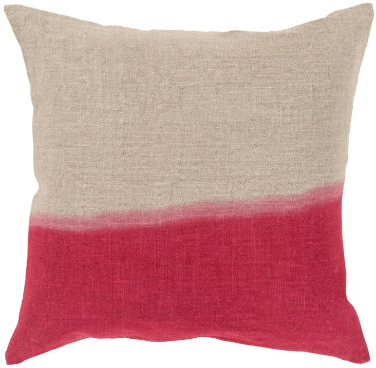 Two-Tone Linen Pillow, Pink