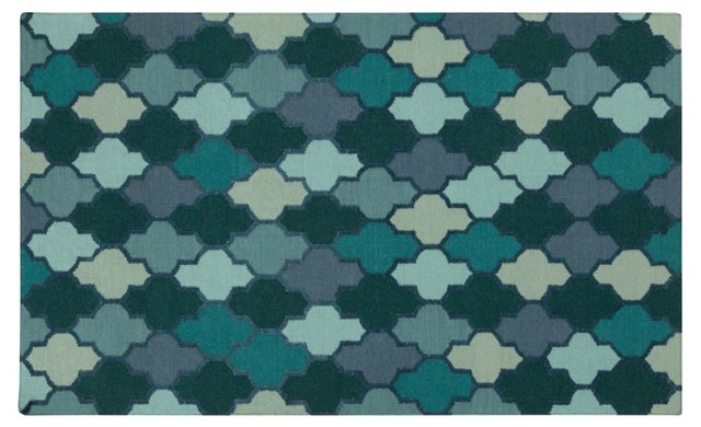 Druj Flat-Weave Rug, Blue/Green