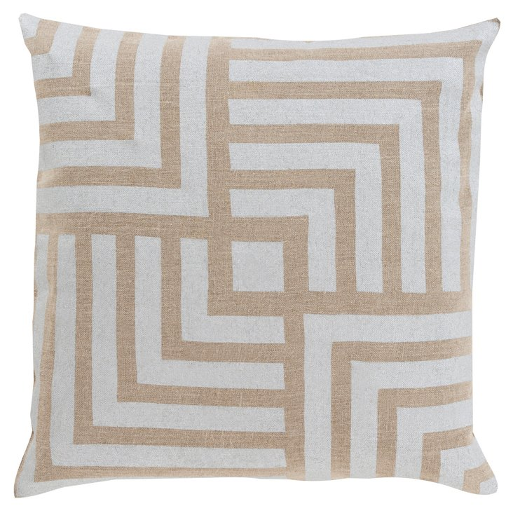 Graphic Linen Pillow, Beige