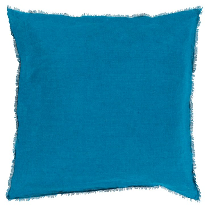 Fraye Linen Pillow, Blue