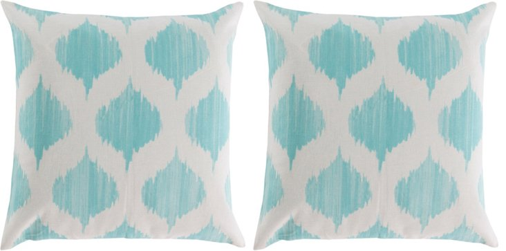 S/2 Orchid 18x18 Cotton Pillows, Blue