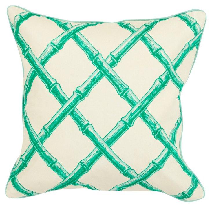 Bamboo 20x20 Cotton Pillow, Green