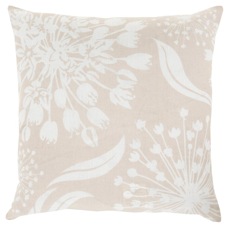 Floral 20x20 Linen Pillow, Ivory