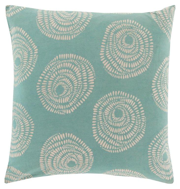 Flora Cotton Pillow, Teal