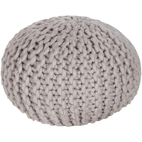 Carina Knit Pouf, Gray