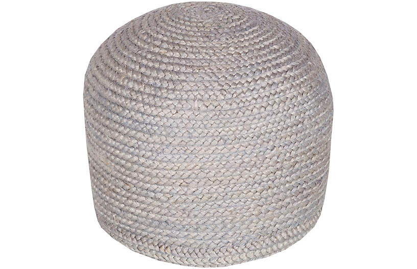 Anita Jute Pouf, Light Gray