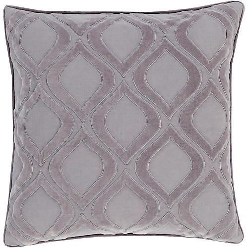 "Leaf 18"" x 18"" Cotton Pillow, Aqua"