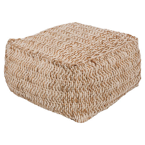 Oak Cove Pouf, Gray/Beige