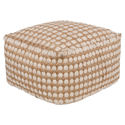 Oak Cove Jute-Blend Pouf, Natural
