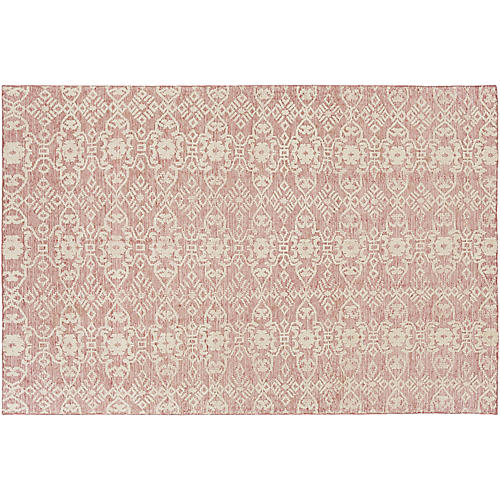 Fann Hand-Knotted Rug, Rose/Cream