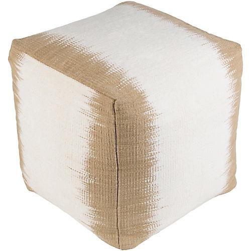 Milford Cube Pouf, Tan/White