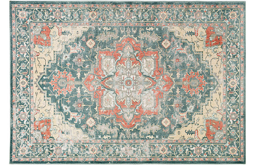 Tabit Rug, Green/Neutral