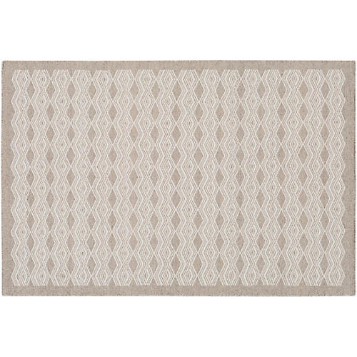 Saul Handwoven Rug, Light Gray/Cream