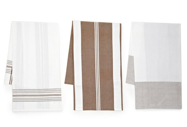 Asst of 3 Classic Dish Towels, Beige
