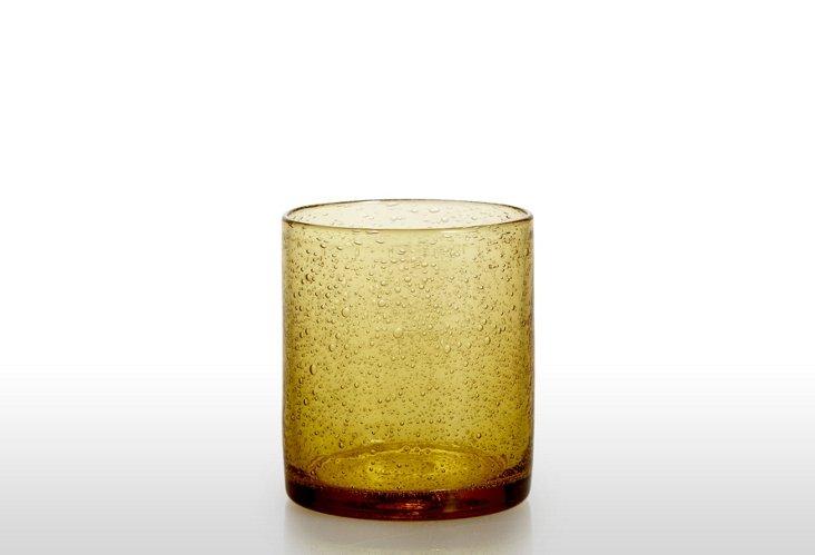 S/6 Bubble-Glass DOF Glasses, Wheat