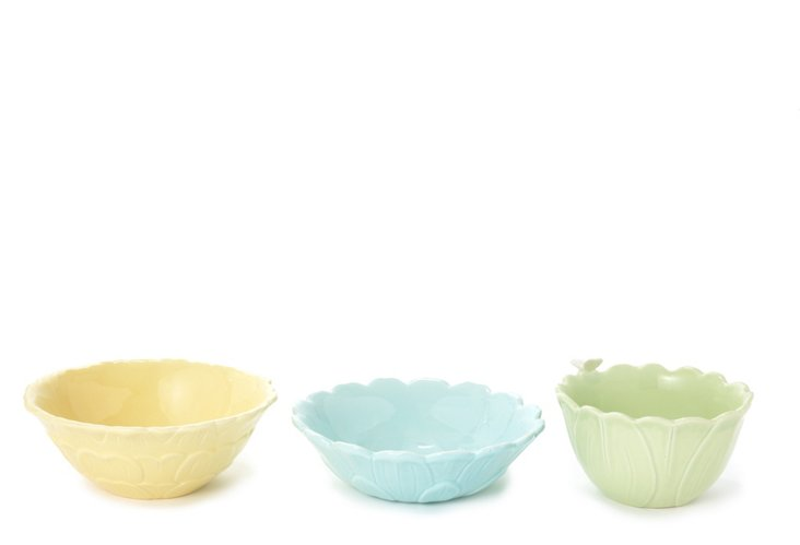 S/3 Floral Bowls