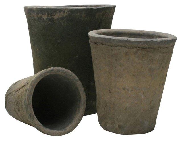 S/3 Artisan Terracotta Garden Pots