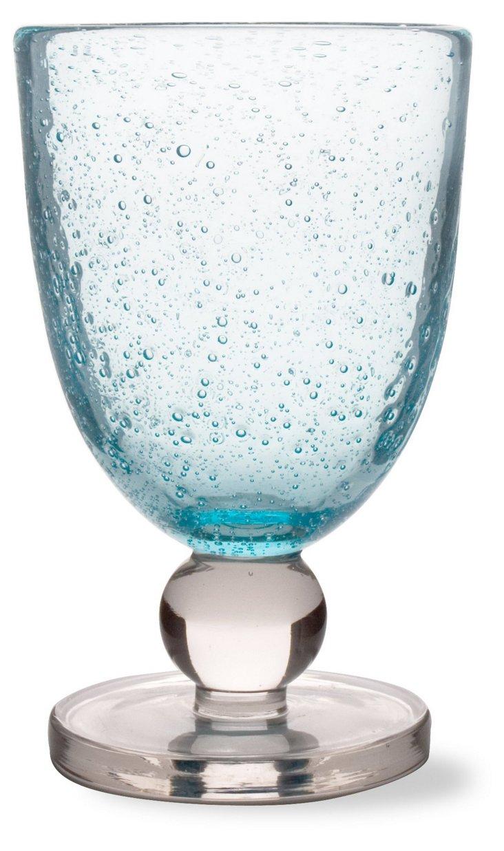 S/6 Bubble-Glass Goblets, Aqua