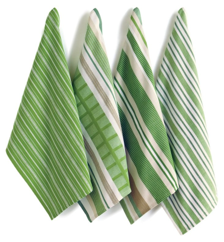 S/4 Basic Dish Towels, Green