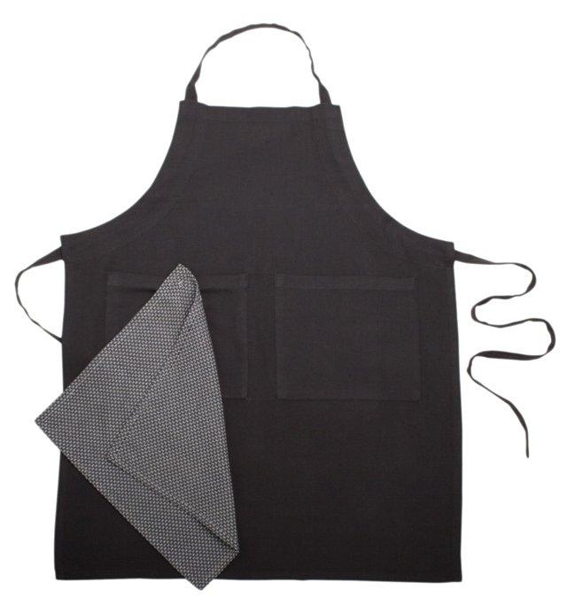 Organic Apron & Dish Towel Set, Charcoal