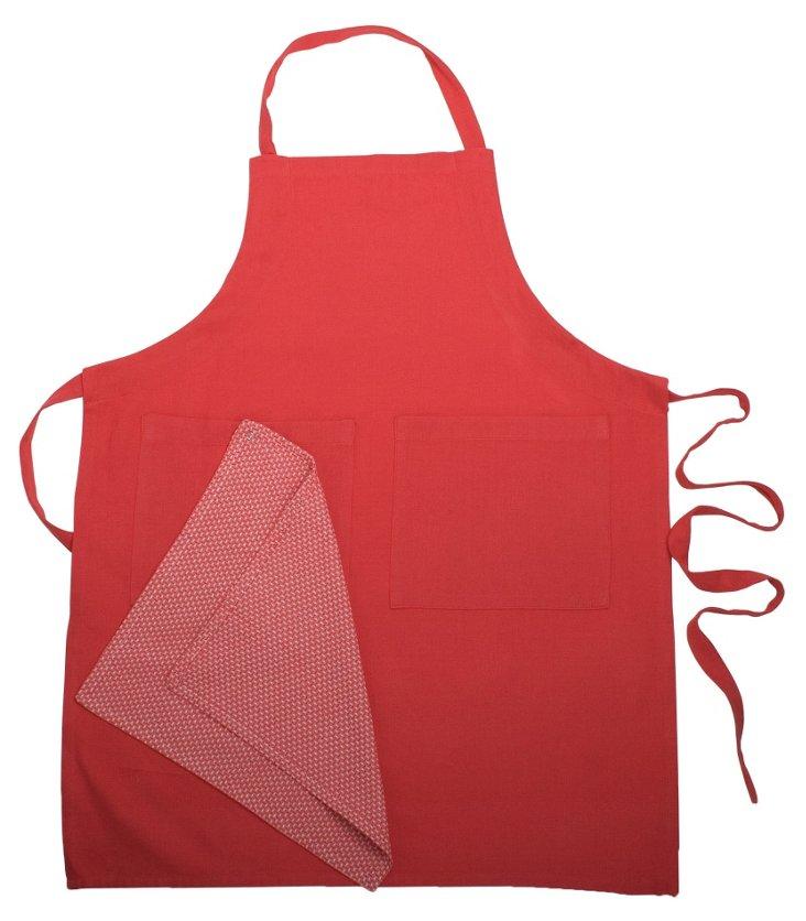 Organic Apron & Dish Towel Set, Red