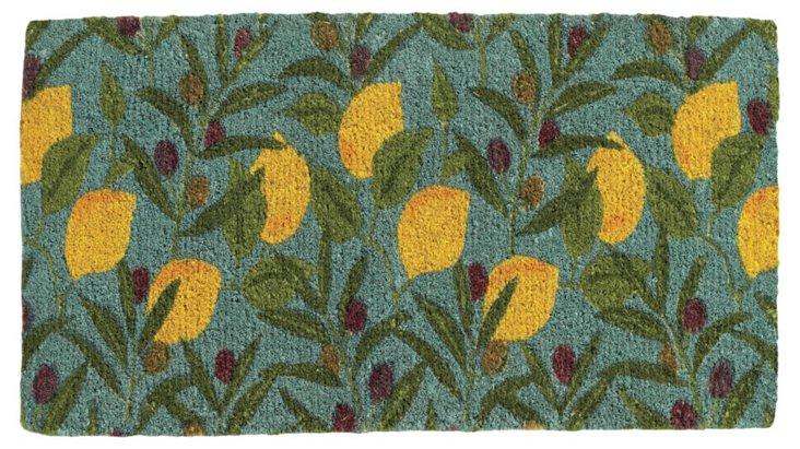 Branch Coir Mat, Teal/Lemon