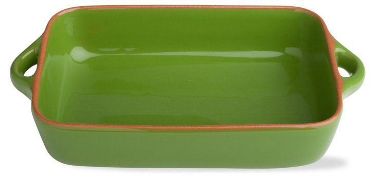 "9.9"" Rectangular Terracotta Baker, Green"