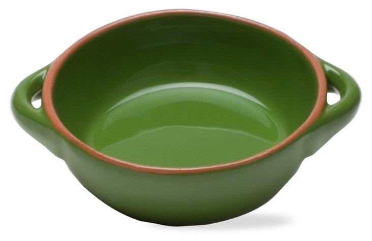 """5.75"""" Round Terracotta Baker, Green"""