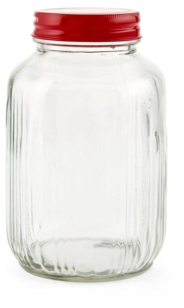 S/2 Vintage-Style Glass Jars, Medium